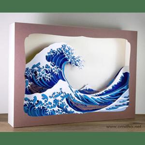 L'ornithorynque périgourdin – Grand tableau 3D – Découpe laser – La vague d'Hokusai