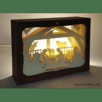 L'ornithorynque périgourdin | Tableau 3D, découpe laser, crèche blanche en lumière
