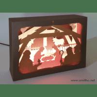 L'ornithorynque périgourdin | Tableau 3D, découpe laser, crèche couleur en lumière