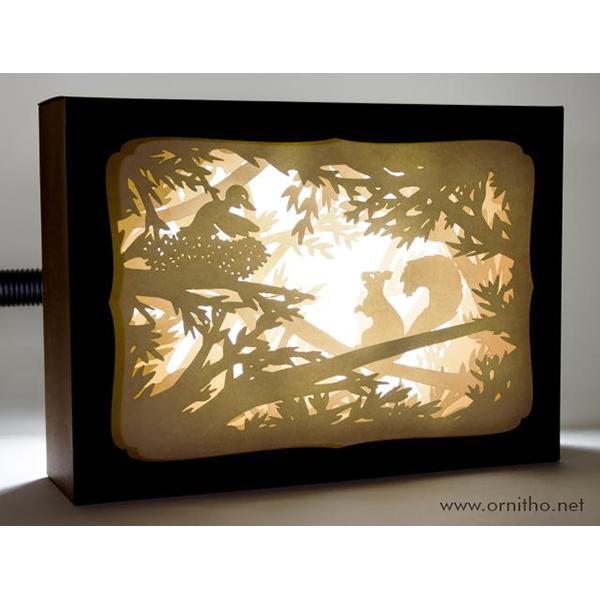 L'ornithorynque périgourdin | Tableau 3D, découpe laser - L'écureuil, blanc en lumière