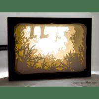 L'ornithorynque périgourdin | Tableau 3D, découpe laser – La pêche, blanc en lumière