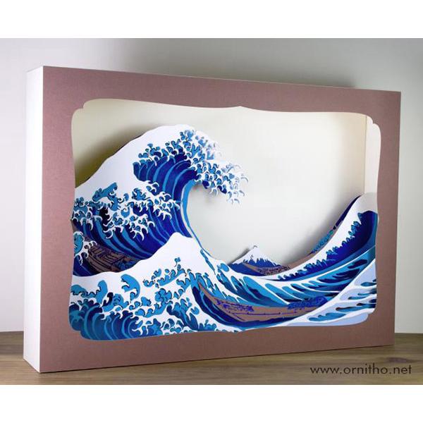 L'ornithorynque périgourdin - Grand tableau 3D - Découpe laser - La vague d'Hokusai